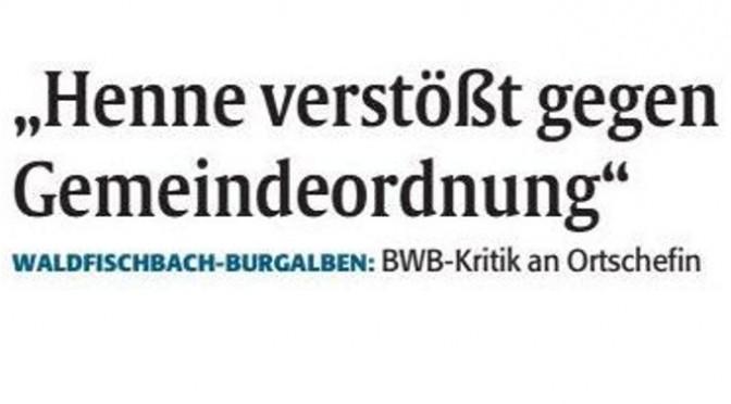 Kritik der BWB an Ortsbürgermeisterin Henne