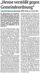 2014-09-17 RP Artikel - Henne verstößt gegen Gemeindeordnung