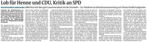 2015-03-17 RP Artikel - Lob fuer Henne und CDU, Kritik an SPD