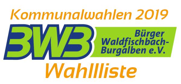 BWB Wahlliste zur Kommunalwahl 2019